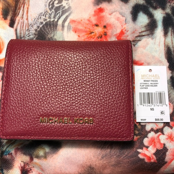 92b44721a9f1 Michael Kors Bags | Nwt Flap Card Holder Mulberry Leather | Poshmark